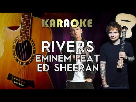 Eminem - River Ft. Ed Sheeran | HIGHER Key Acoustic Guitar Karaoke Instrumental Lyrics Cover