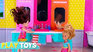 Twins Chelsea & Annabel barbie dolls morning accidents - messy room, orbeez slime bath
