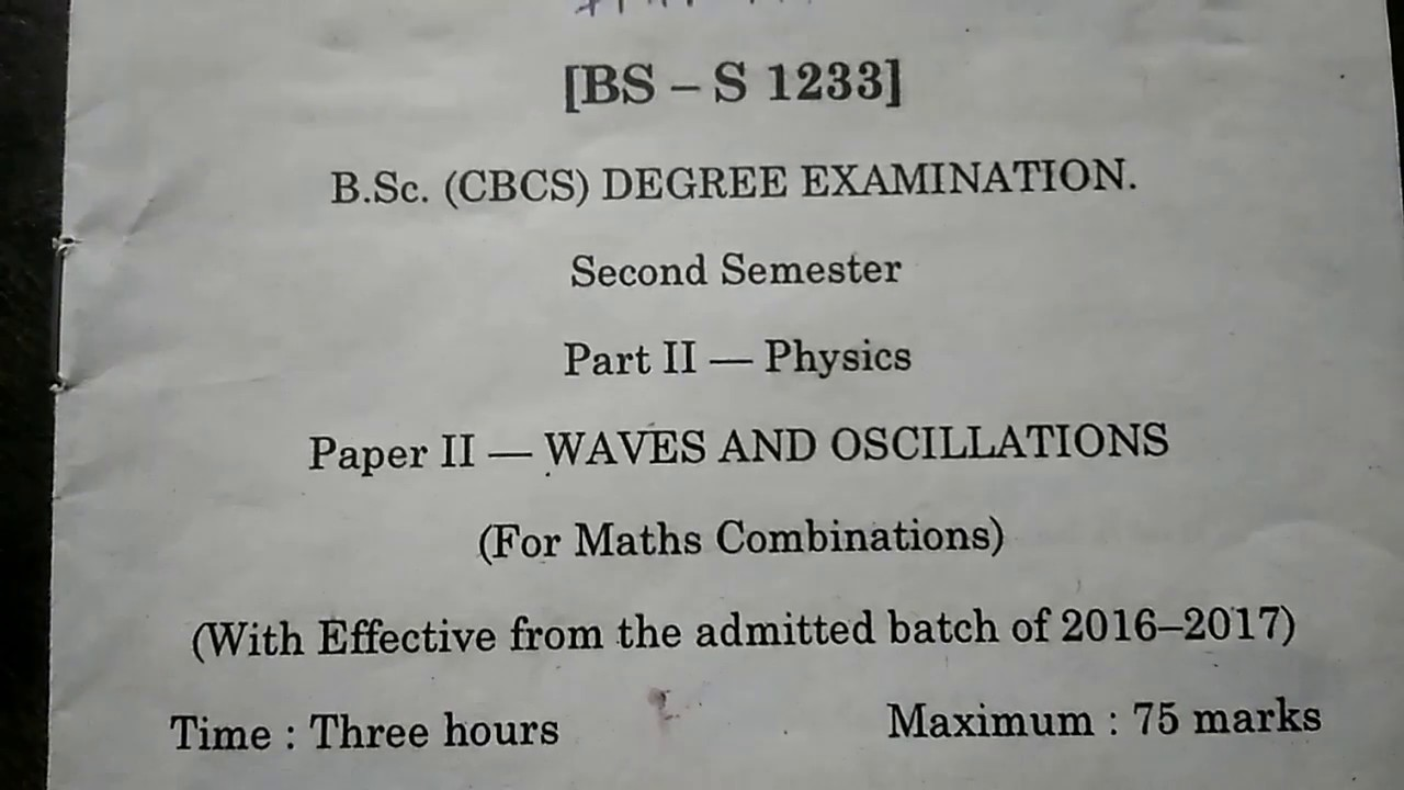 Degree 1st year 2nd sem physics important questions