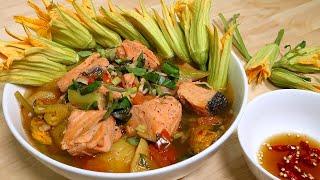 Vlog 14 | Canh Chua Cá Hồi Bông Bí Vàng (Vietnamese Sweet And Sour Salmon Soup With Squash Blossoms)