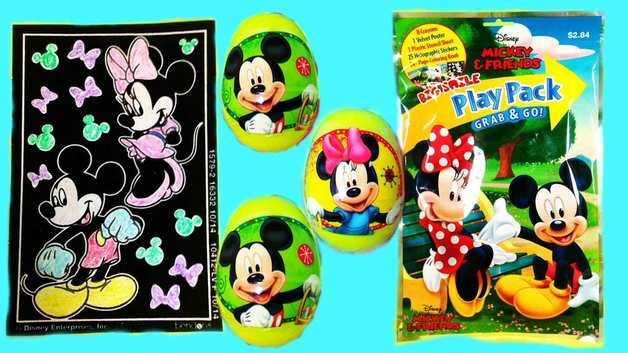 Disney velvet coloring posters - Disney Junior Surprise Eggs Mickey Mouse Club House Big Smile Play Pack Surprise