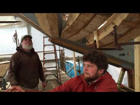 Ernestina-Morrissey - Using gin pole to lift frame into place : Part 3 seating the tenon