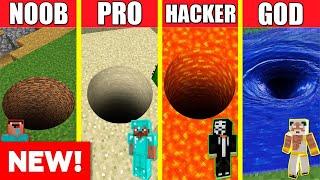 Minecraft Battle: TUNNEL HOUSE BUILD CHALLENGE  NOOB vs PRO vs HACKER vs GOD / Animation PIT HOLE
