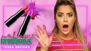 TESSA BROOKS tries MELTING Lipsticks TOGETHER?! | Makeup Mythbusters