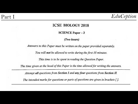 ICSE 2018 Biology Solved Question Paper - YouTube