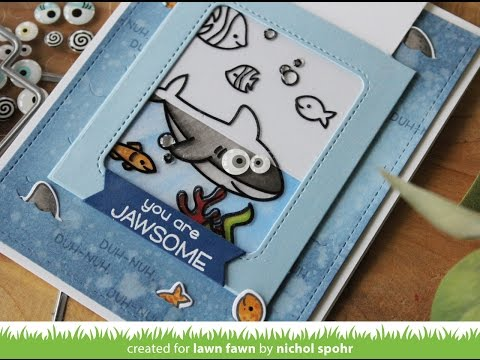Lawn Fawn | Magic Color Slider Duh-Nuh Shark Card