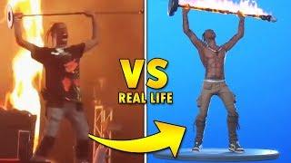 "Travis Scott vs Fortnite ""Rage"" emote | Real Life Comparison"