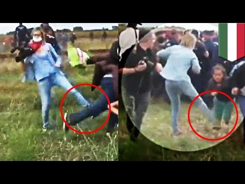 Neo-Nazi Hungarian TV camera woman trips and kicks refugees fleeing Syria - TomoNews