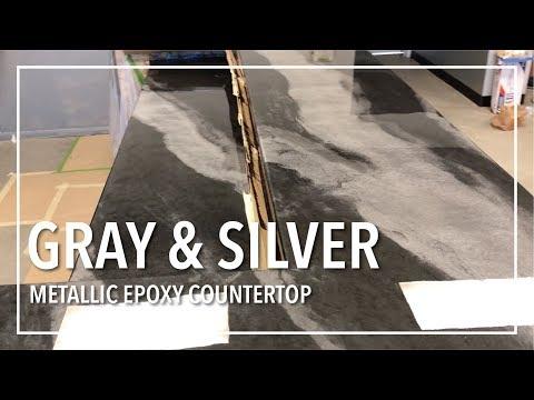 Gray & Silver Epoxy Countertop Remodel! - YouTube