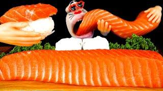 ASMR MUKBANG :) Incredible Giant Salmon Eating Show!