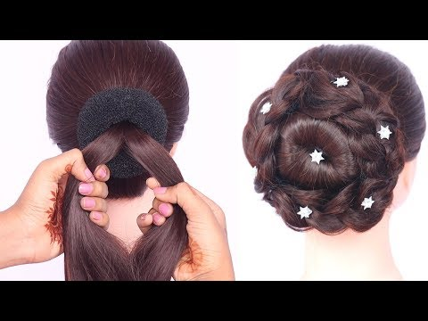 juda hairstyle for thin hair | messy bun | updo hairstyle | ladies hair style | braided hairstyle thumbnail