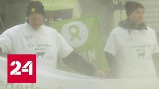 Фермеры обсыпали Евросовет в Брюсселе тонной сухого молока