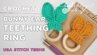 Gift for birth baby party rabbit Biting ring crochet bunny bunny with baby rattle griffin toy wood and cotton for baby /& kids