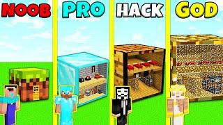 Minecraft Battle: INSIDE BLOCK HOUSE BUILD CHALLENGE - NOOB vs PRO vs HACKER vs GOD / Animation
