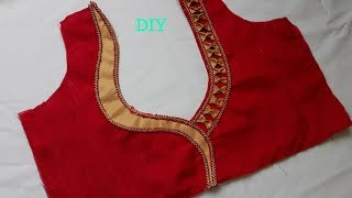 simple and beautiful blouse back neck design cutting and stitching