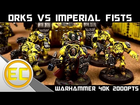 Orks vs Imperial Fists Space Marines Warhammer 40,000 Battle Report 1080p