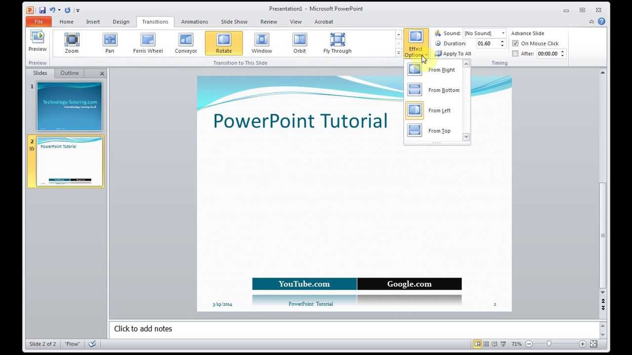 Microsoft powerpoint how to trasition rotate slide effect youtube microsoft powerpoint how to trasition rotate slide effect ccuart Choice Image