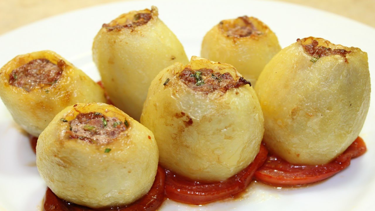 طريقة عمل محشي البطاطس باللحمة المفرومة Stuffed Potato