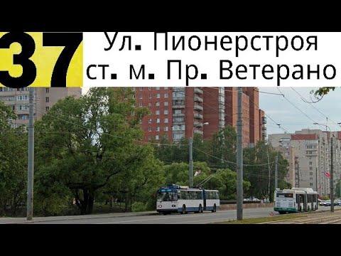 """Троллейбус 37 """"Ул. Пионерстроя.- ст. м. """"Проспект Ветеранов""""."""