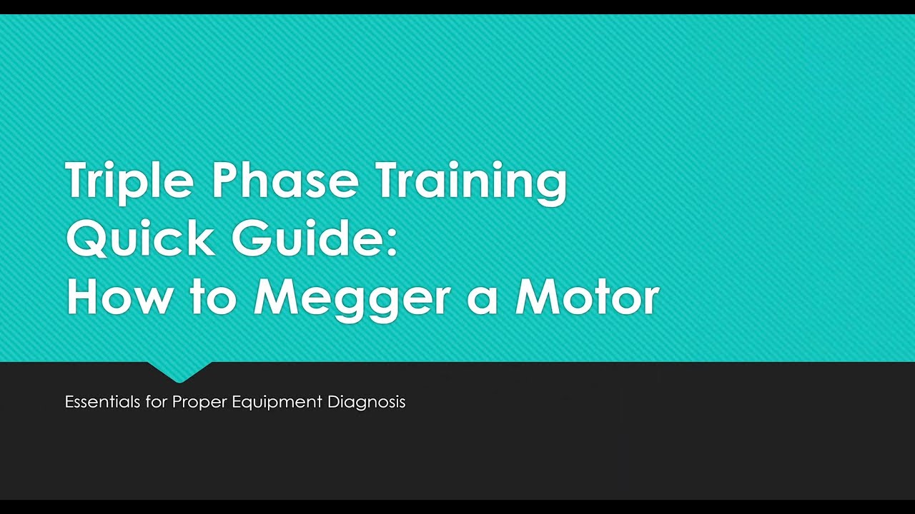 How to Megger a Motor / Insulation Test - YouTube