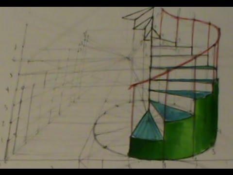 Escalera de caracol en perspectiva c nica otro m todo - Escaleras de caracol ...
