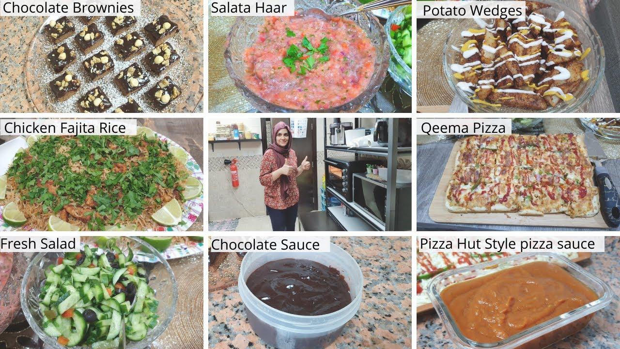 Aj ap sub khush ho jaein gey - Qeema Pizza-Chocolate Brownie-Salata Haar-Fajita Rice-Potato Wedges