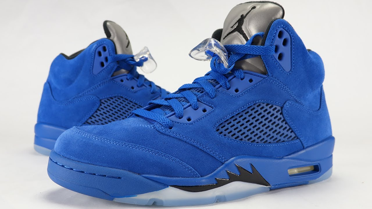1616f1363014c6 AIR JORDAN 5 BLUE SUEDE REVIEW + ON FEET - YouTube