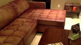 Deerfield Leather Sectional Sofa Chaise