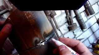 Сварка труб электродами 4 мм., (горизонтальный шов)