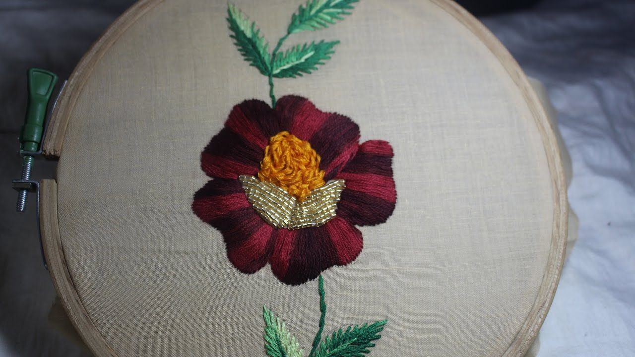 Hand embroidery rose flower design stitch and