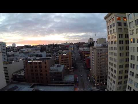 Drone flies around Downtown Tacoma, Washington!