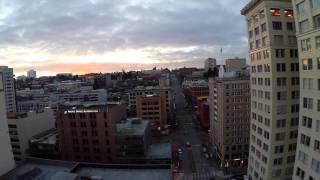 Drone flies around Downtown Tacoma, Washington!