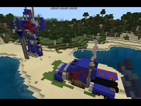 Minecraft -Optimus prime statue and truck