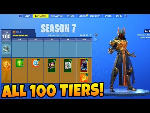 *NEW* Fortnite Season 7 ALL 100 TIERS UNLOCKED + FULL Map Walkthrough! (Fortnite Battle Royale)