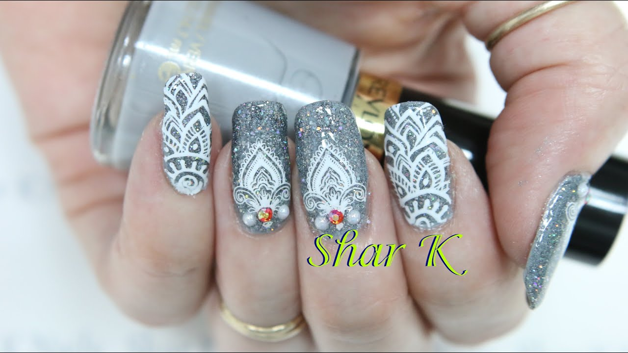 Nail Art Design Holographic Gray Henna Lace Youtube