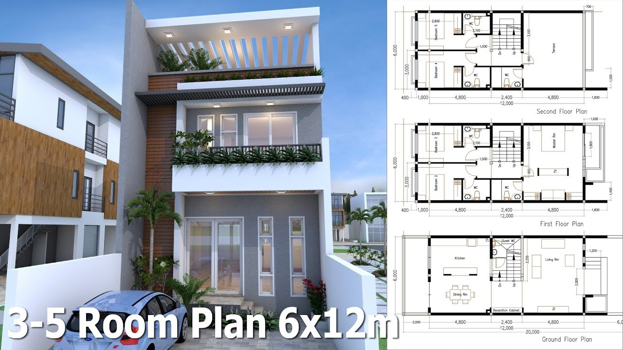 Sketchup 3 story home plan 6x12m youtube for Home plan architect