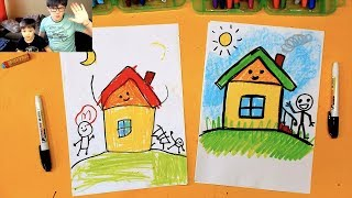 How to draw a house ART for KIDS