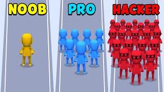 NOOB vs PRO vs HACKER - Crowd City screenshot 2