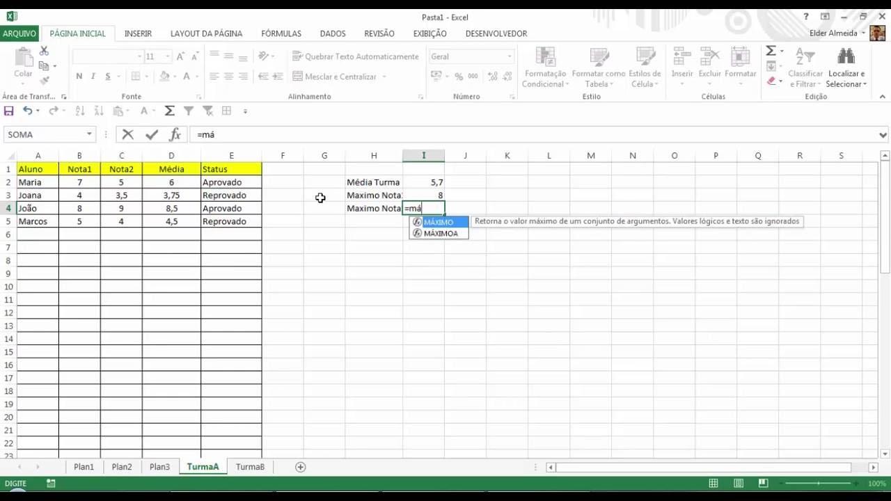 Excel Simples   Básico 20 Conceito e Fórmulas Básicas   YouTube