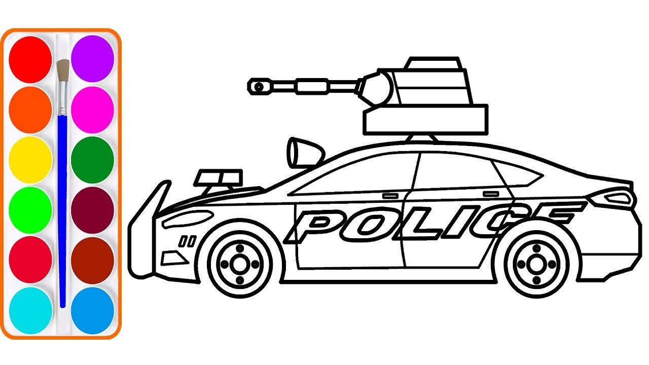 Vẽ xe cảnh sát | Dạy bé tô màu | Bé học màu bằng tiếng anh| Police car drawing and coloring for kid
