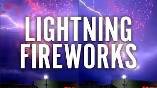 Lightning behind Fireworks in Barrington, NJ