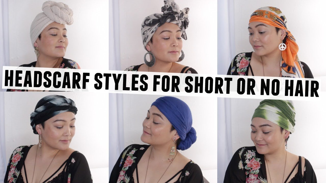 6 Easy Head Scarf Styles For Short Or No Hair Youtube