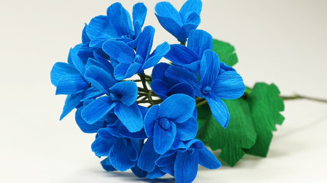 Paper flower diy paper hydrangea flower bouquet making tutorial youtube premium izmirmasajfo