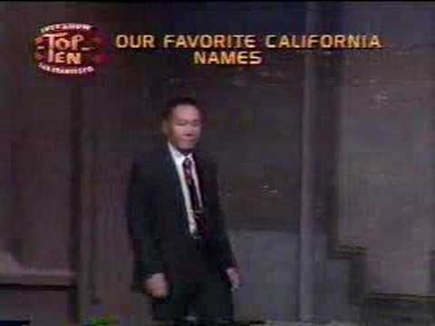 David Letterman Funniest Top 10 Ever - California Names