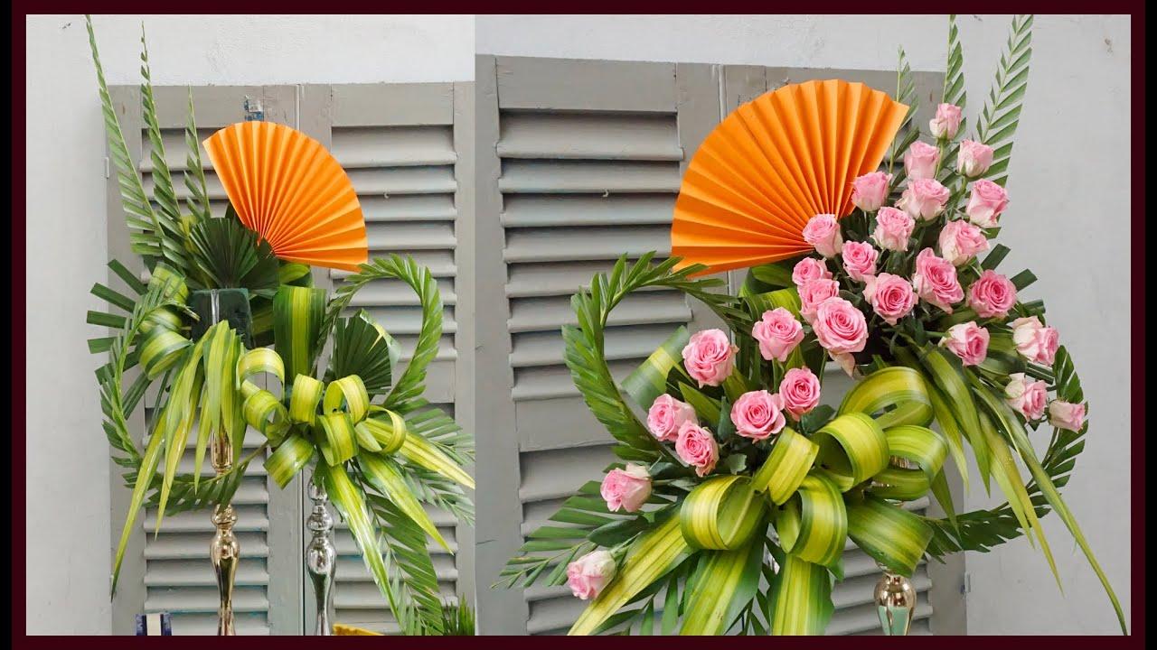 Cắm bình hoa hồng sen để bàn thờ kết hợp gấp quạt giấy | Mẫu cắm hoa đẹp