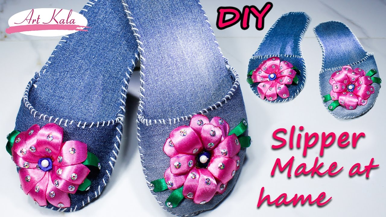 How To Make Slippers At Home Old Waste Jeans Denim Ribbon Flower