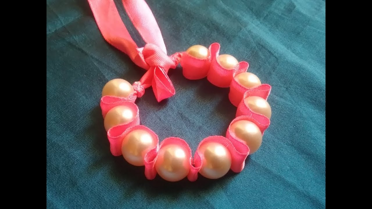 Bracelet,how to make pearl & ribbon bracelet,very easy bracelet making  ideas,DIY friendship bracelet