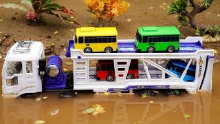 Truck Transporter Crossing On Deep Water Car Toys For Kids with Nursery Rhymes | Cars and Toys