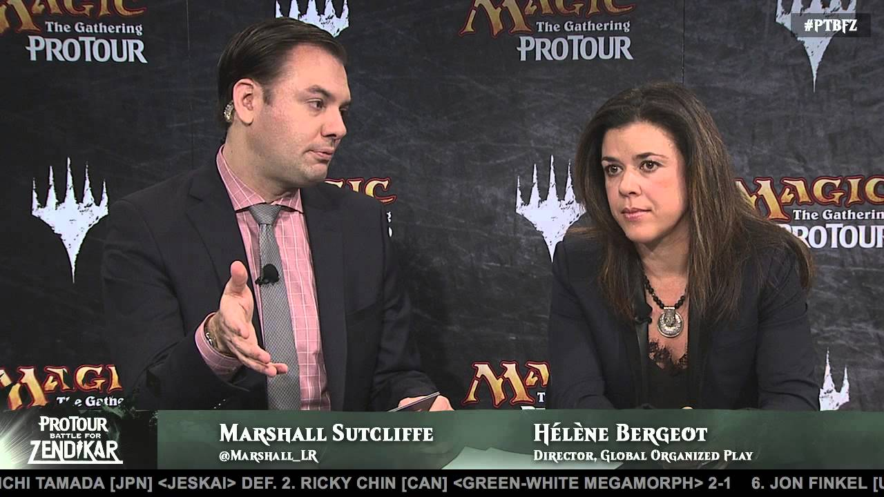 Helene speaking with Marshall Sutcliffe at Pro Tour Battle For Zendikar