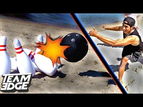 GIANT BEACH BOWLING CHALLENGE!! |  Edge Games [Day 1]